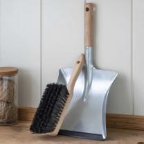 Beech & Steel Dustpan & Brush